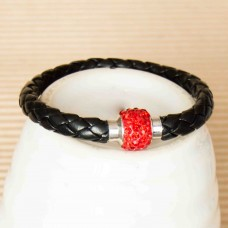 Leather Bracelet with Sparkle Clasp