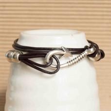 Leather Mens Bracelet with Hook detail