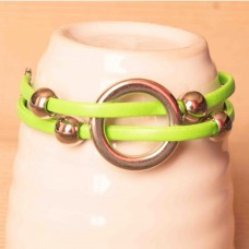 Leather Bracelet with Circular detail