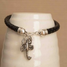 Leather Bracelet with Scorpion detail