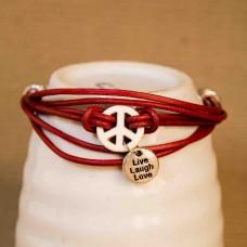 Leather & Alloy Peace Bracelet