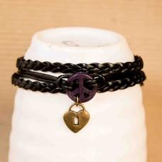 PU Leather & Alloy Peace Bracelet