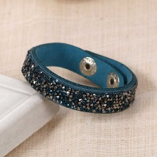 Faux Suede Bracelets Teal Rhinestone