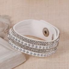 Faux Suede Bracelets White Rhinestone