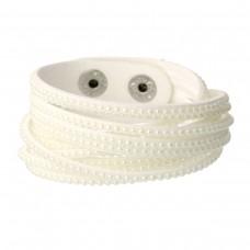 Faux Suede Bracelets White Pearl