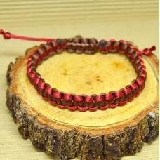 Braided Infinity Bracelet - Red/Brown