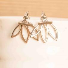 Alloy Fashion Lotus Flower Earrings