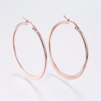 ROSE Gold Plated Stainless Steel Hoop Earrings