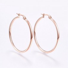 ROSE Gold Plated Stainless Steel Hoop Earrings