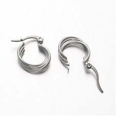 Twisted Stainless Steel Hoop Earrings