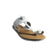 White Leather Upper Rubber Sole Ladies Sandals Size 7