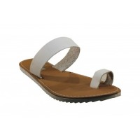 White Leather Upper Rubber Sole Ladies Sandals Size 6