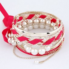 Bright Pink Alloy Bangle Set