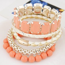 Peach Alloy Bangle Set