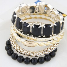 Black Alloy Bangle Set