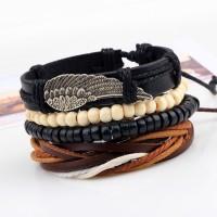 4Pc Leather, Wax Cord & Wood  Bracelet Set