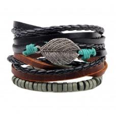 3Pc Leather, Wax Cord & Wood  Bracelet Set