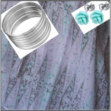3Pc Set with Scarf, Earrings & Bangle