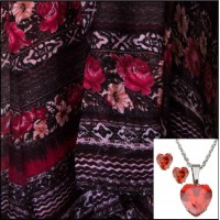 3Pc Set with Scarf, Earrings & Necklace