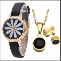 3Pc Set with Necklace, Earrings & Watch