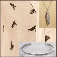 3Pc Set with Scarf, Necklace & Bangle