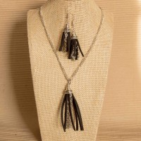 2Pc Set with Faux Suede Tassle Necklace & Earrings
