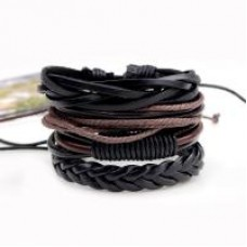 3Pc Leather & Wax Cord Bracelet Set