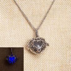ETHAN Purple Glow In The Dark Heart Necklace