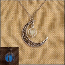 Blue Glow In The Dark Sphere & Moon Necklace