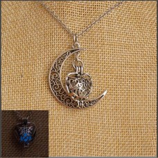 Blue Glow In The Dark Heart & Moon Necklace