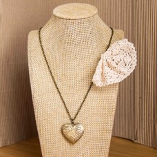 Beige Lace & Heart Locket Necklace