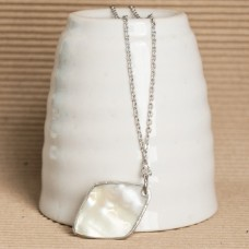 Silver Tone Natural Pearl Shell Necklace