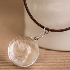 Glass Globe with Dandelion seeds Necklace