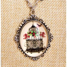 Bird Cage Pendant with Lace Necklace