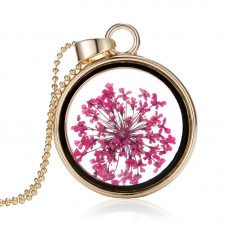 Plated Dried Pink Flower Necklace