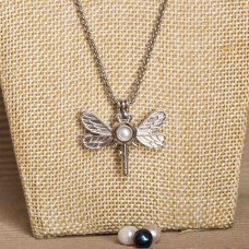 White Pearl Cage Necklace Silver Tone Dragonfly
