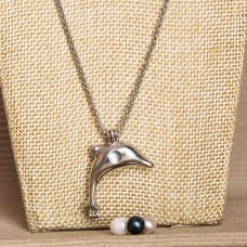 White Pearl Cage Necklace Silver Tone Dolphin