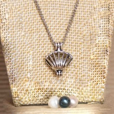 Navy Pearl Cage Necklace Silver Tone Shell