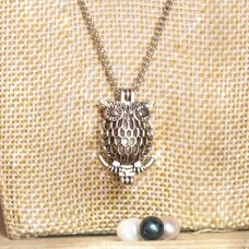 White Pearl Cage Necklace Silver Tone Owl