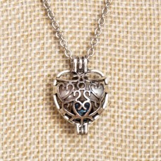 White/Navy/Mauve Pearl Cage Necklace Silver Tone Heart