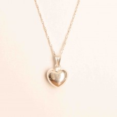 S925 Sterling Silver Puffed Heart Necklace