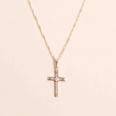 S925 Sterling Silver Cubic Cross Necklace