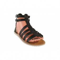 Black Leather Upper Rubber Sole Ladies Sandals Size 4