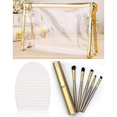 Makeup Bag, Brush & Cleaner Set