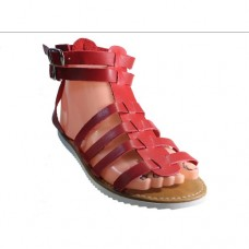 Red Leather Upper Rubber Sole Ladies Sandals Size 8