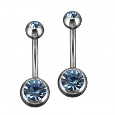 Stainless Steel Body Piercing Jewerllery - Light Blue