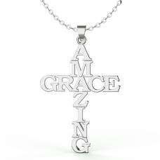 Stainless Steel Pendant - Medium Amazing Grace Cross