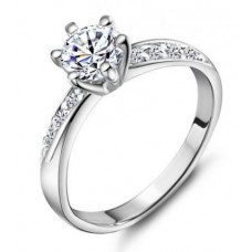 Rhodium Plated Cubic Zirconia Ring #8