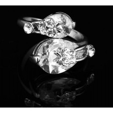 Rhodium Plated Teardrop Cubic Zirconia Ring #7