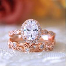 Rose Gold Plated Friligree Ring Set #7